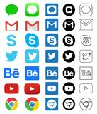 Icono social de los medios para Facebook, Whatsapp, Skype, YouTube, Instagram, Snapchat, lugar frecuentada, Twitter libre illustration