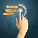 Icono social del presionado a mano medios en fondo azul con el mundo mA Foto de archivo