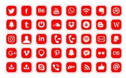 icono social popular de la web del vector de 40 logotipos de los medios ilustración del vector