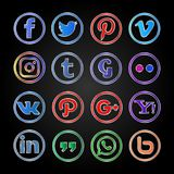 Icono social y botones de Colorfull medios fijados ilustración del vector
