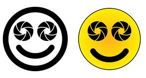 Icono sonriente dual gemelo de la cara del teléfono móvil de la lente Apertur de dos cámaras libre illustration