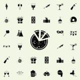 icono tajado de la pizza Vaya de fiesta el sistema universal de los iconos para el web y el móvil ilustración del vector