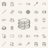 icono tajado del pan Sistema universal de los iconos de la tienda de la panadería para el web y el móvil libre illustration