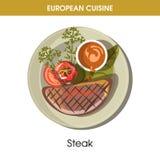 Icono tradicional del vector de la comida del plato de la cocina del filete europeo de la carne para el menú del restaurante stock de ilustración