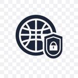 Icono transparente asegurado de la red Diseño asegurado del símbolo de la red libre illustration