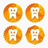 Icono triste de la muestra de la cara del diente Símbolo de dolor del diente Fotografía de archivo libre de regalías