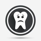 Icono triste de la muestra de la cara del diente Símbolo de dolor del diente Fotografía de archivo
