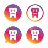 Icono triste de la muestra de la cara del diente Símbolo de dolor del diente Fotos de archivo