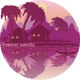 Icono tropical de los centros turísticos Montaña del barco de la casa de planta baja del mar de las palmeras Imágenes de archivo libres de regalías
