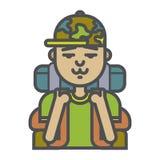 Icono turístico del hombre Outdoorman y turista de la naturaleza El vacaciones, el caminar, senderismo y turismo e icono del viaj Fotos de archivo