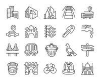 Icono urbano y de la ciudad del elemento fijado en la línea simple de moda estilo del arte ilustración del vector