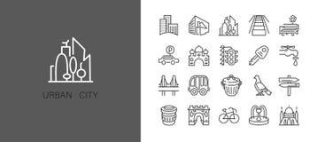 Icono urbano y de la ciudad del elemento fijado en la l?nea simple de moda estilo del arte stock de ilustración