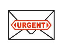 Icono urgente del sobre con la letra importante Fotos de archivo libres de regalías