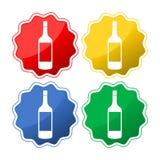 Icono vacío de cuatro diverso botellas stock de ilustración