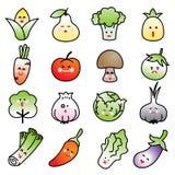 Icono vegetal del vector fijado en el fondo blanco Foto de archivo libre de regalías