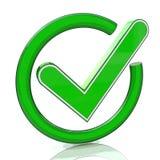 Icono verde 3d de la muestra de la señal Símbolo de cristal de la marca de verificación Imagen de archivo libre de regalías