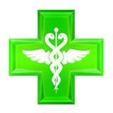 Icono verde de la cruz de la salud aislado Fotografía de archivo