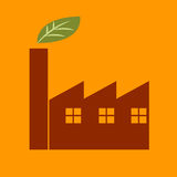 Icono verde de la fábrica Fotografía de archivo