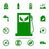 icono verde de la máquina de rellenar de la gasolina sistema universal de los iconos de Greenpeace para el web y el móvil ilustración del vector