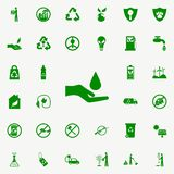 icono verde de la mano y del descenso sistema universal de los iconos de Greenpeace para el web y el móvil libre illustration