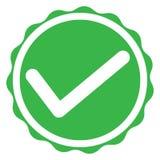 Icono verde de la marca de la señal en el fondo blanco muestra verde de la marca de la señal Fotos de archivo libres de regalías