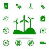 icono verde de los molinoes de viento sistema universal de los iconos de Greenpeace para el web y el móvil stock de ilustración