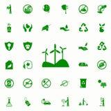 icono verde de los molinoes de viento sistema universal de los iconos de Greenpeace para el web y el móvil ilustración del vector