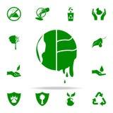 icono verde del calentamiento del planeta sistema universal de los iconos de Greenpeace para el web y el móvil ilustración del vector