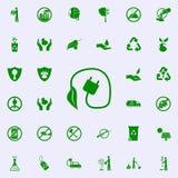 icono verde del enchufe eléctrico y de la planta sistema universal de los iconos de Greenpeace para el web y el móvil ilustración del vector