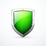 Icono verde del escudo del vector Imágenes de archivo libres de regalías
