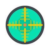 Icono verde del objetivo del arma, estilo plano ilustración del vector