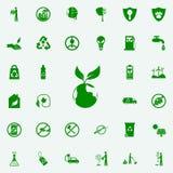 icono verde del planeta y de la planta sistema universal de los iconos de Greenpeace para el web y el móvil ilustración del vector