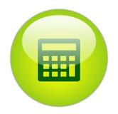 Icono verde vidrioso de la calculadora Imagenes de archivo
