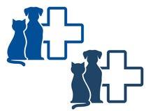 Icono veterinario con los animales domésticos Imágenes de archivo libres de regalías