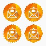 Icono video del correo Símbolo de la cámara de vídeo mensaje Imagen de archivo libre de regalías