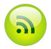 Icono vidrioso del verde RSS Imagen de archivo