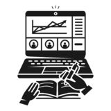 Icono webinar del negocio, estilo simple ilustración del vector