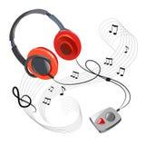 Icono y auriculares de la música en un fondo blanco Fotografía de archivo libre de regalías