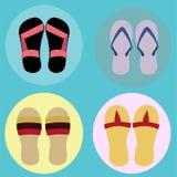 Icono y ejemplo de la sandalia Imágenes de archivo libres de regalías