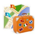 Icono y maleta del mapa del vector Fotografía de archivo