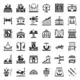 Icono y paseo de fichas, icono sólido del parque de atracciones libre illustration