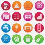 Icono y pictograma del conjunto completo de la pieza de la casa Imagen de archivo libre de regalías