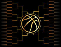 Icono y soporte de oro del baloncesto Imagen de archivo