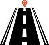 Icono y ubicación, estilo de la ubicación del camino del esquema ilustración del vector