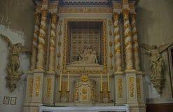 Iconographie dans l'église catholique chez Avranches, France photo stock