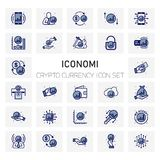ICONOMI Coin Crypto Currency icons set. For web design and application interface, also useful for infographics. Vector illustration Royalty Free Stock Image