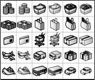 Iconos #01 de las compras Foto de archivo libre de regalías