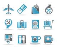 Iconos 1 del aeropuerto, del recorrido y del transporte stock de ilustración