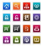 Iconos 1 del Web y del Internet - serie de la etiqueta engomada Fotos de archivo libres de regalías