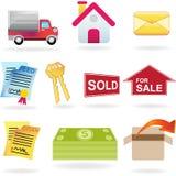 Iconos 2 de las propiedades inmobiliarias Foto de archivo
